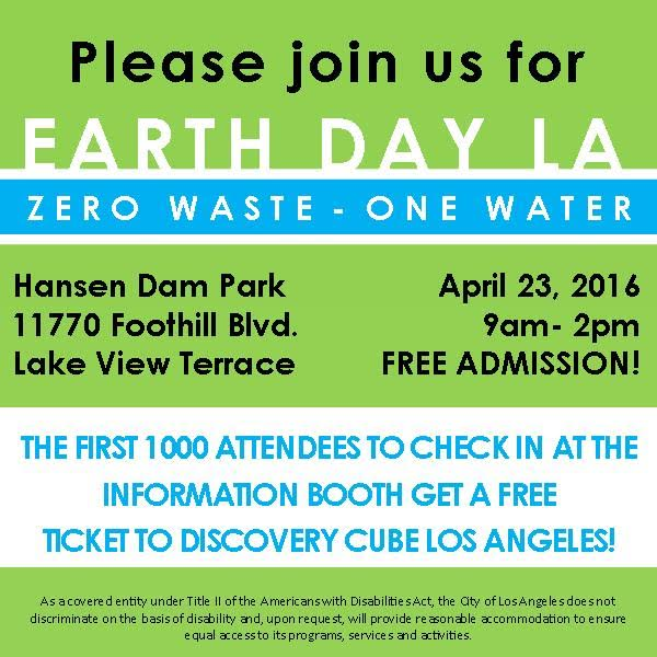 Discovery Cube Coupon >> La Sanitation Earth Day Event 2016 You Re Invited The